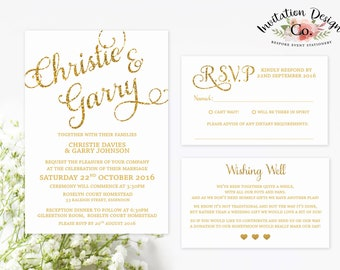Digital Wedding Invitation Gold glitter Modern & Simple clean design READY TO PRINT file