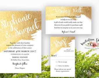 Digital Wedding Invitation Gold watercolor Modern & Simple clean design READY TO PRINT file