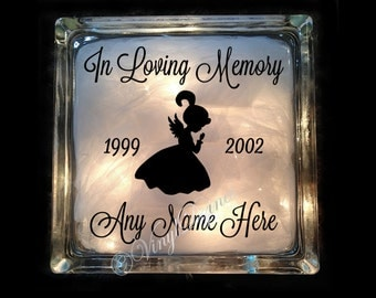 Angel In Loving Memory Child - Memorial Lighted Glass Block - Loving Memory Child - Loving Memory Light - GB-1153