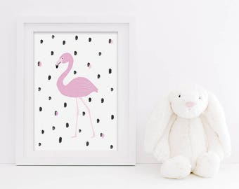 Flamingo Kids Print - Nursery Print - Pink Flamingo Print - Scandi Inspired Print - Monochrome Nursery - Flamingo Print