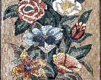 Vase of Colorful Roses Mosaics