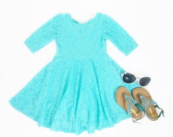 Girls Teal Lace Dress, Teal Dress, Teal Twirl Dress, Girls Lace Dress, Girl Dresses, Dress Sizes 2/3, 4/5, 6/6X, 7/8, 10/12 Ready to Ship