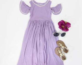 Girls Lilac Cold Shoulder Maxi Dress, Girls Lavender Maxi Dress, Cold Shoulder Maxi Dress, Sizes 3/4, 4/5, 6/6x, 7/8, 10/12 Ready to Ship