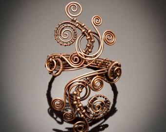Antique Copper Wire wrapped bracelet cuff , bracelet-wire wrapped cuff bracelet-wire wrapped handmade copper bracelet cuff,