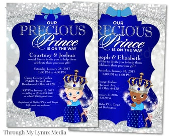 Prince Baby Shower | Silver And Royal Blue Prince Baby Shower Invite| Bling  Princess | Baby Boy Royal Shower Invitations | Print Or Digital