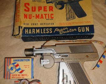 1949 Super Nu Matic Cap Gun. by Langson Mfg. Co. w/box & Caps