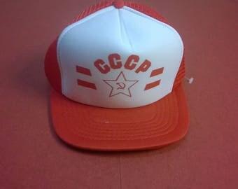 Vintage 90s Trucker Cap  C.C.C.P. Sovjet Union Cap Vintage 90s Cap Unused item Red White One Size fits all Adjustable