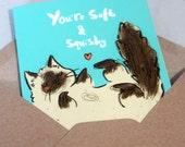 Ragdoll cat A6 greeting card - You're soft and squishy like a ragdollcat- cute cat- quirky greetings card- love- friendship- mother- father