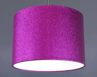 Purple Glitter Metallic Fabric Drum Lampshade Pendant