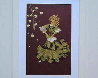 """Unique picture from pressed flowers """"Movement"""" - Pressed flowers art - Unique gift - Art collage - Home decor wall art - Framed picture."""