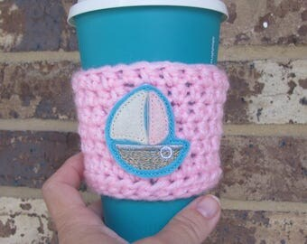 Sailboat Cup Cozy, Crochet Sleeve, Drink Holder, Hot or Cold Beverage, Summer, Birthday Gift, Party Favor, Gift Exchange, Grab Bag, Feltie