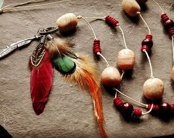 Bohemian feather necklace with moonstone