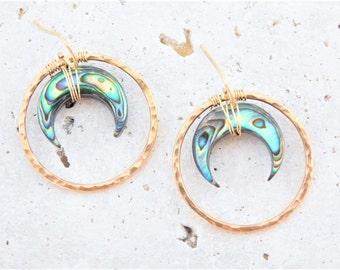 Abalone Shell Earrings, Abalone Crescent Earrings, Paua Shell Earrings, Paua Crescent Earrings, Double Horn Earrings, Crescent Horn Earrings