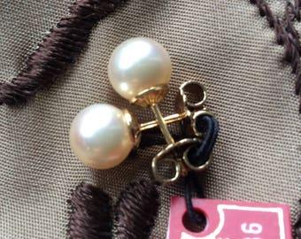 Majorica Pearl Stud Earrings 18k Plated Man Made