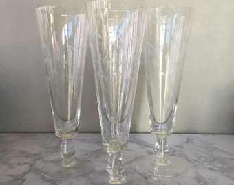 "Vintage Pilsner Glasses - Noritake Crystal ""Bamboo"", set of 4 