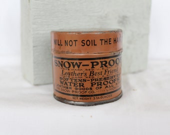 Snow-Proof Waterproofing Advertising tin, Old Advertising, Leather conditioner tin