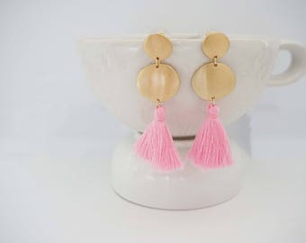 Pink Tassel and Gold Circle Post Earrings
