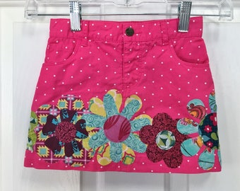 Toddler Girls Skirt, Size 4T, Pink with White Polka dots, Appliqued with Flowers completly around, All Cotton, for spring/everyday/summer
