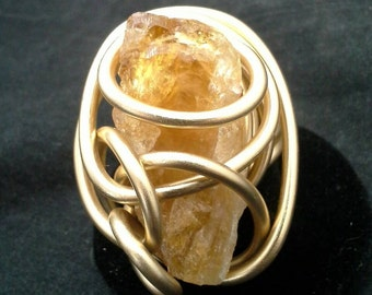Wire Wrapped Citrine Gemstone Ring, Statement Ring,  Ring, Finger Ring,