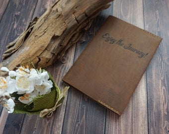 Personalized Leather Notebook cover, Refillable Leather Journal, Engraved Wedding gift, Personalized leather journal cover, brown, Monogram