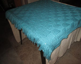 Hand Knitted Turquoise Afghan