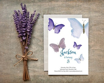 Birthday Invitation, Butterfly Printable Birthday Invitation, Butterflies Invitation Card, Personalized Card, Instant download.