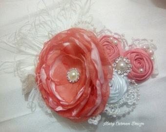 Baby headband, coral headband baby, headband vintage in choral tone