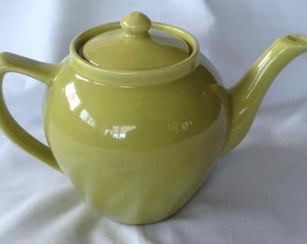 Vintage Bauer Monterey Moderne Chartreuse Teapot - Made in USA - 1950's