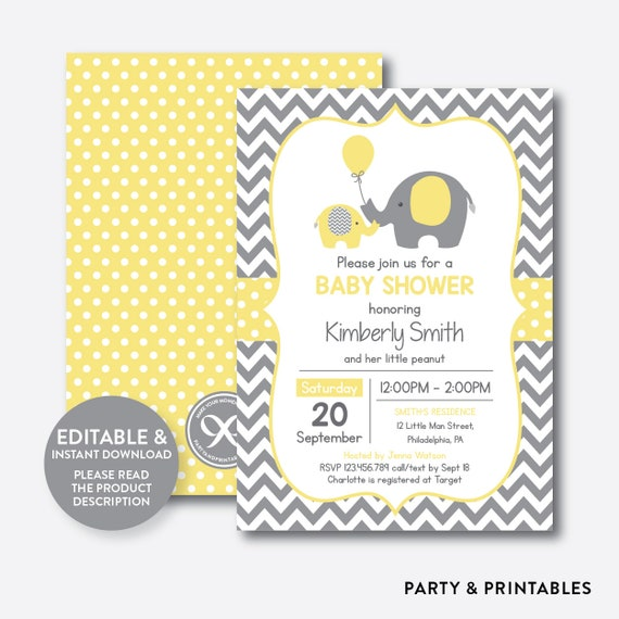 Instant Download Editable Elephant Baby Shower Invitation Yellow