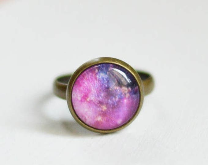 SALE! Dimensionless ring with space from glass and brass