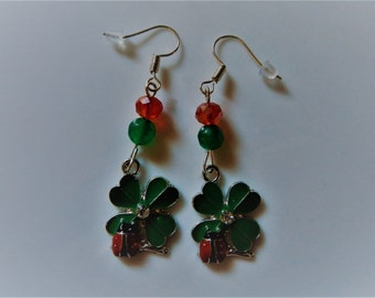 Four Leaf clover Lady bug Drop earrings red Green crystals V5488   Ready to ship
