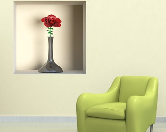 Wall decals 3D illusion flower 1 A492 - Stickers 3D illusion fleur 1 A492