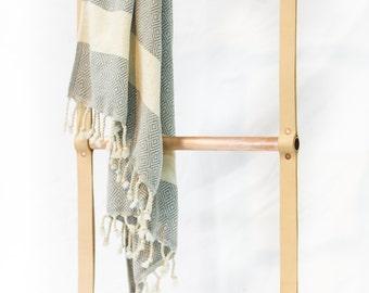 Blanket Ladder / Copper and Leather towel hanger / LEO LEBEL