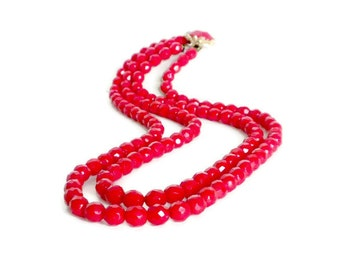 Red Multi Strand Necklace, 1950s Necklace, Faceted Glass Bead Necklace, Two Strand Necklace, Red Collar Necklace, Red Necklace, Red Jewelry