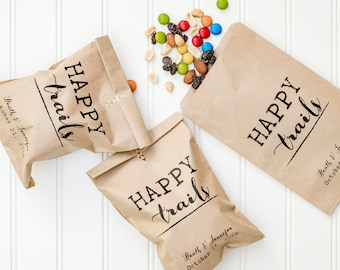 Happy Trails Personalized Wedding Favor Bags - Trail Mix Bar, Rehearsal Dinner, Engagement Party