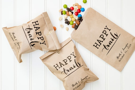 Happy Trails Personalized Wedding Favor Bags - Trail Mix Bar