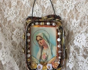Shrine Tin Madonna Home Altar Upcycled Art Mary