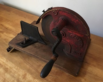 Antique German 'Fripu No12'  cast iron hand crank meat slicer