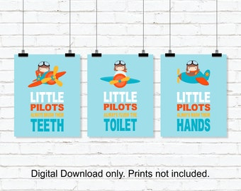 Little Pilots bathroom Wall Decor, Airplanes Wall Decor, Kids Bathroom Wall Art, Airplanes Bathroom decor, Set of 3, 8x10, INSTANT DOWNLOAD