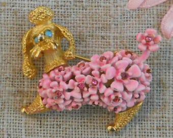 Vintage 1950s pink enamel poodle brooch