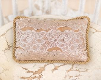Floral Miniature Newborn Pillow Photography Prop: tan mini newborn pillow; floral mini pillow photo prop; neutral organic mini pillow prop