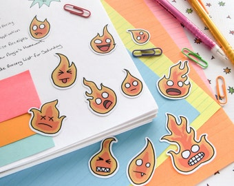Fire Stickers, Funny Flame Stickers, Kawaii Faces, Sticker Flakes, Scrapbooking, Planner, Journaling, Cute Fire, Funny Fire, Funny Stickers