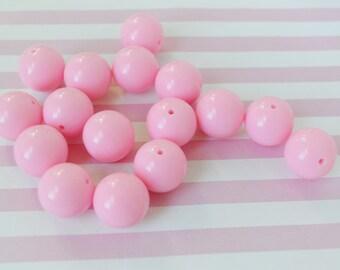18mm Pastel Pink Round Beads - set of 10