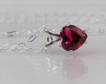 Ruby Heart Pendant, Ruby Gemstone Necklace, 6mm Lab Ruby Gemstone, July Birthstone, Sterling Silver, Ruby Jewelry, Valentine's Day Gift