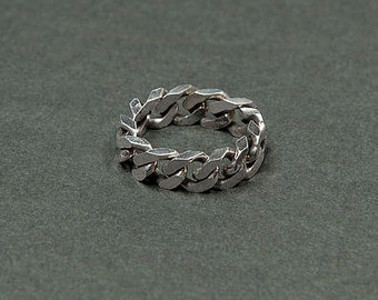 Ring big soft silver chain / mixed