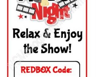 Printable Movie Night Redbox Code card - PDF