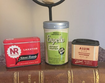 FREE SHIPPING - Trio of Vintage Tins, Laxative, Alum and Moth Crystals