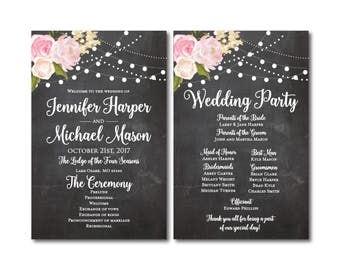PRINTABLE Wedding Program, Ceremony Program, Order of Service Program, Wedding Party Program, Ceremony Order of Service, Programs #CL104