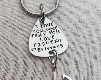 I Love You More Than You Love Fishing Custom Key Chain- Gift For Husband Boyfriend-Valentine's Day-Gift For Fisherman-Fishing-Anniversary