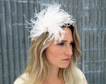 Bridal Hair Accessories, Feather Fascinator, Feather Hairpiece, Wedding Hair Accessories, Wedding Fascinator, Vintage Hair Accessories,